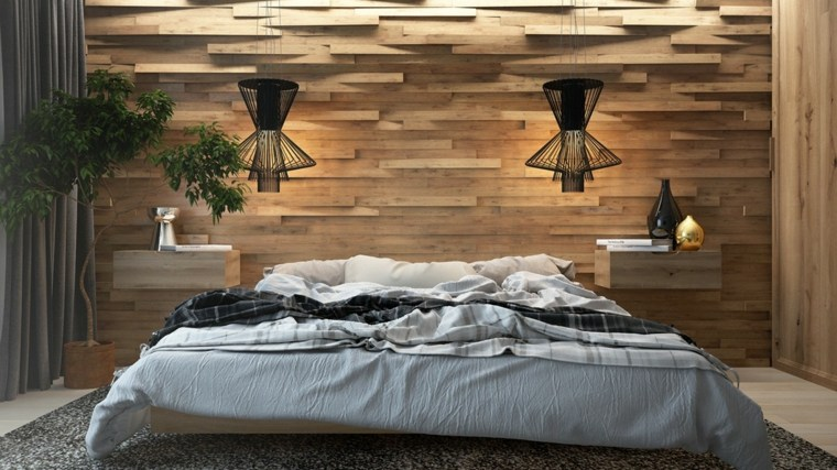 camas matrimonio bajas pared madera ideas