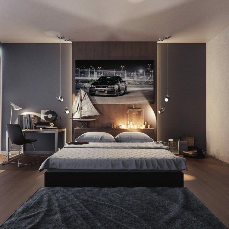 camas matrimonio bajas respaldo cama madera diseno masculino ideas