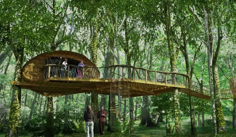 casa en los árboles elegante puente
