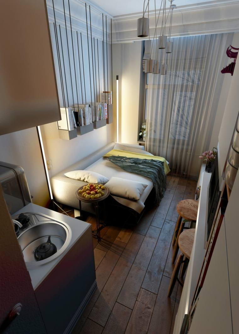 casas pequeñas decoracion cama sofa muebles