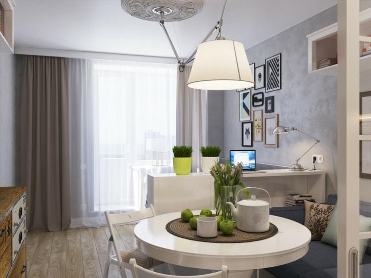 casas pequeñas decoracion separador mueble lamparas