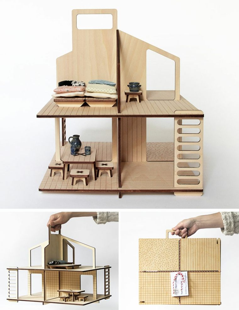 casita muñecas madera natural