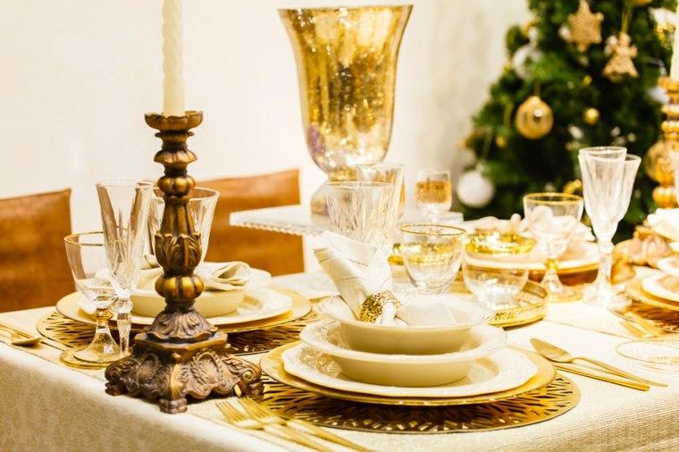 cenas de navidad decoracion mesa bella brillante ideas