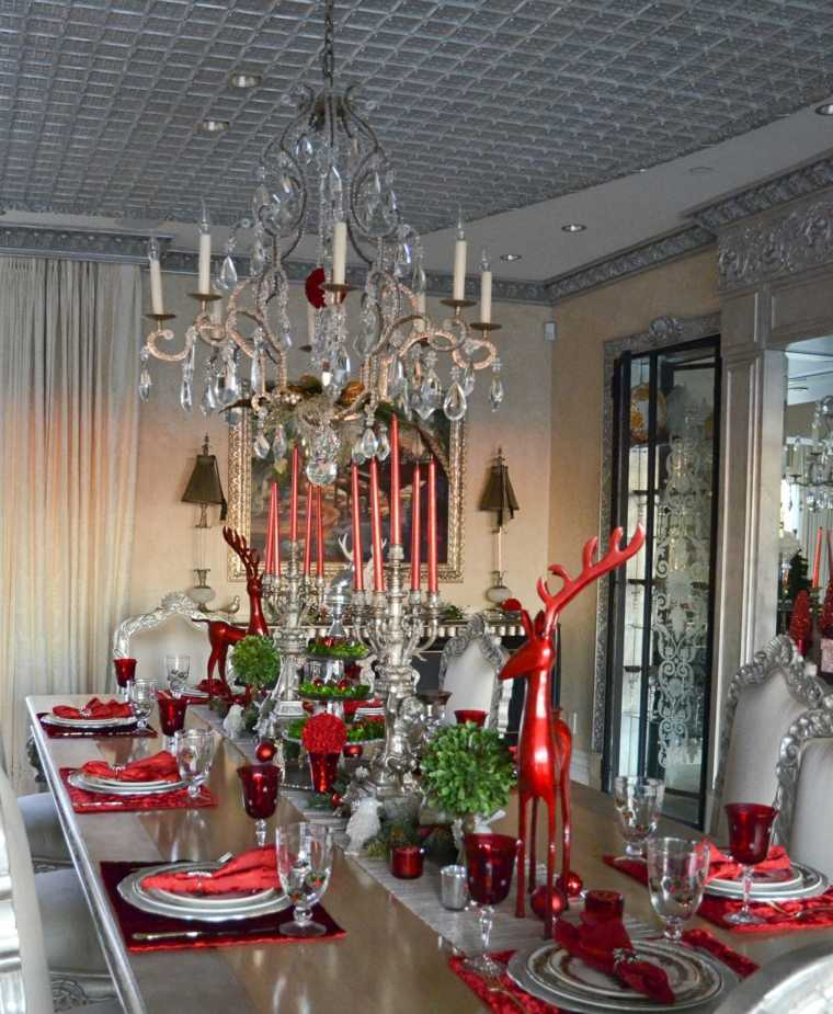 cenas de navidad decoracion mesa glamurosa rojo ideas
