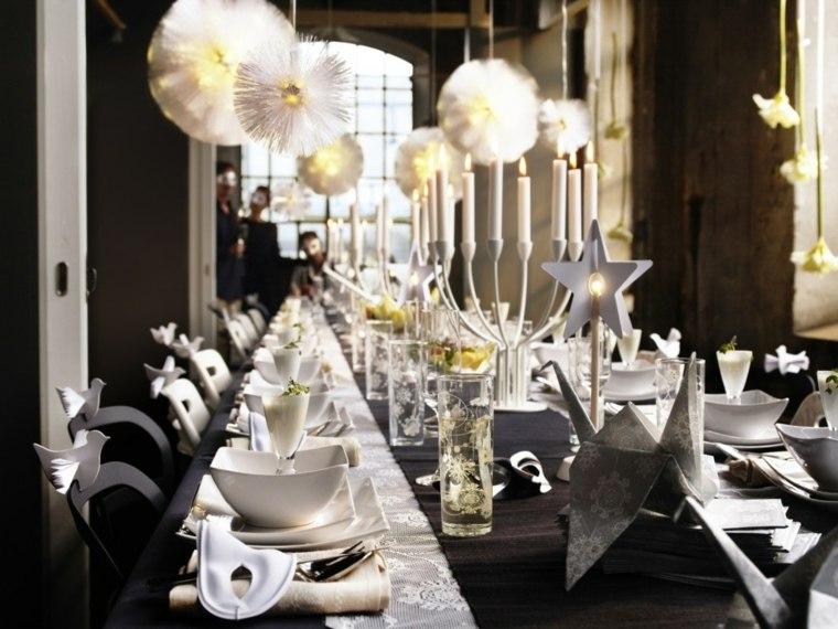 cenas de navidad decoracion mesa negro blanco ideas