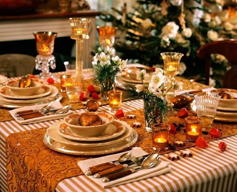 cenas de navidad decoracion mesa velas caminos ideas