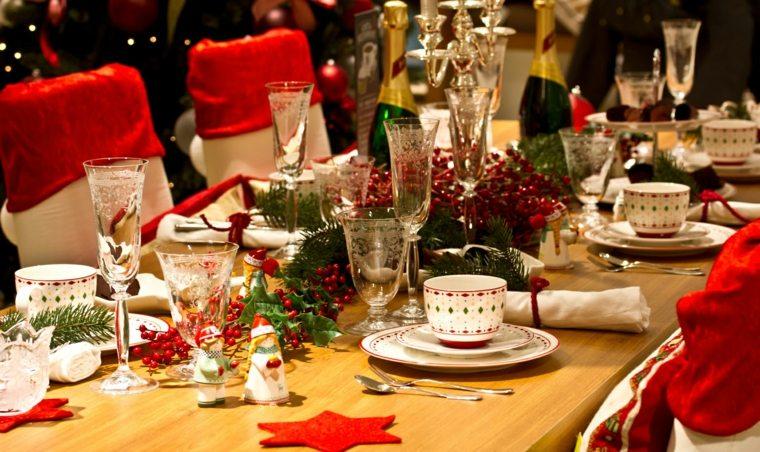 cenas navidad decoracion mesa combinacion rojo dorado ideas