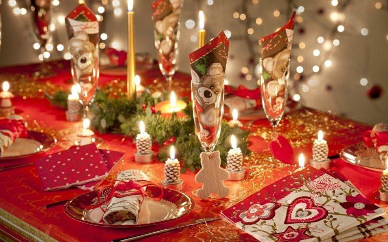cenas navidad decoracion mesa mantel estampas navidenas ideas