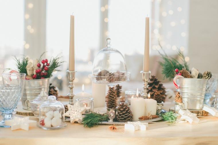 cenas navidad decoracion mesa pinas velas ideas