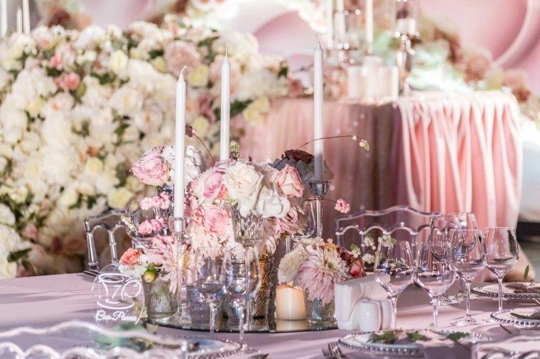 centro mesa bello colores claros flores ideas