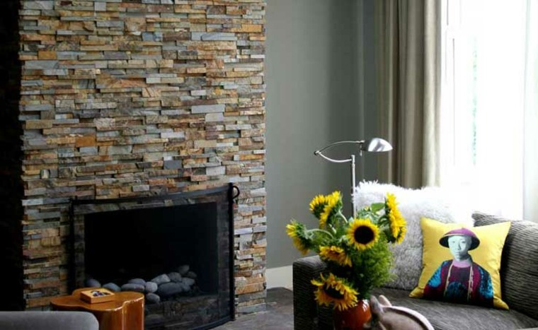 chimenea piedra diseño moderno