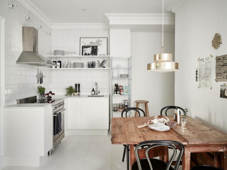 cocina escandinava blanco mesa madera ideas