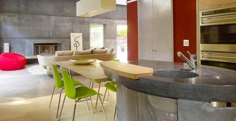 Cocina con isla de hormigón de estilo moderno   42 diseños