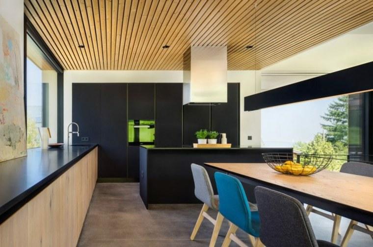 cocina negra comedor moderno diseño
