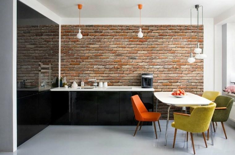 cocinas coloridos acentos materiales sillas