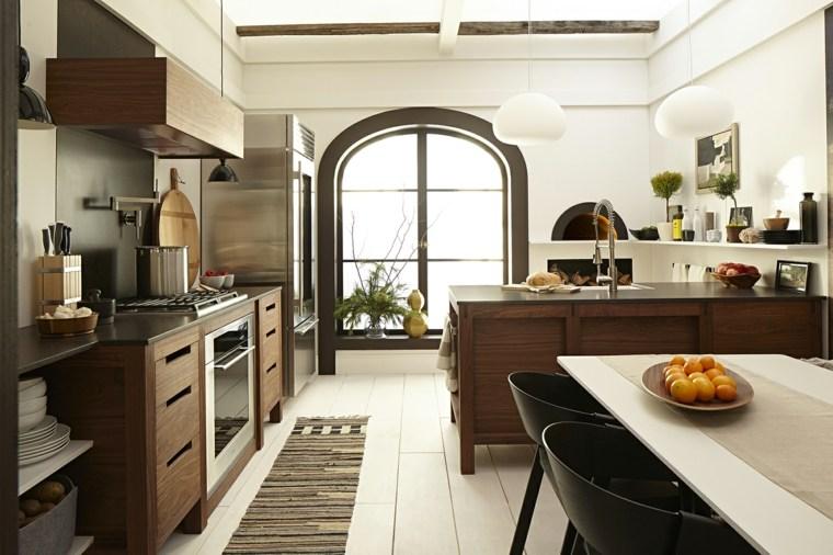 cocinas nórdicas muebles madera oscura ideas