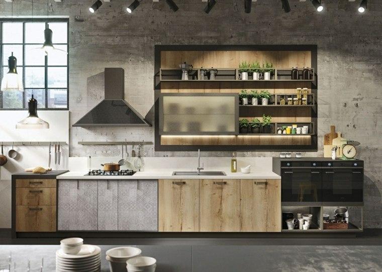 color gris cocinas concreto industrial estantes