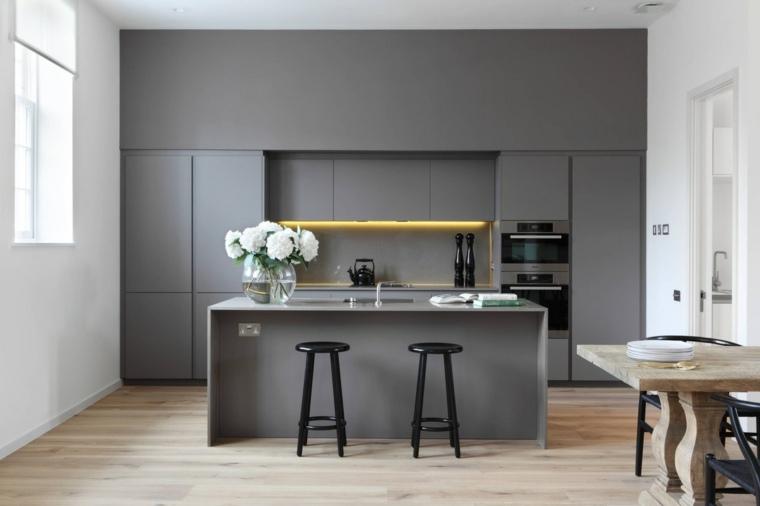 color gris cocinas especiales muebles led