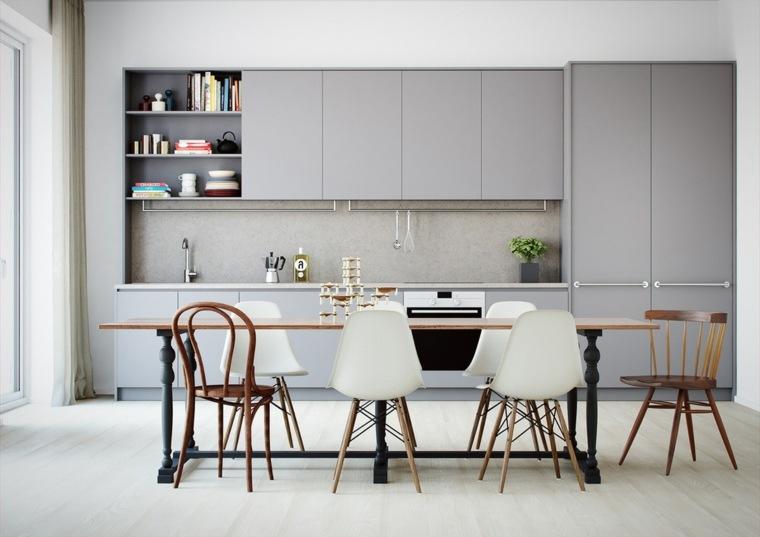 color gris cocinas ideas decoraciones plantas