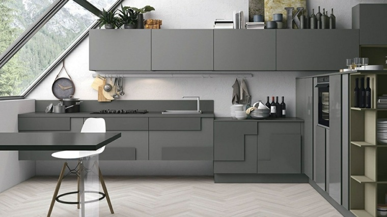 Color gris cocinas y diseños en 42 ideas espectaculares