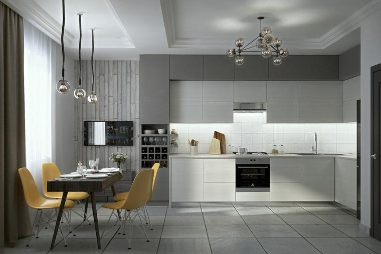 color gris cocinas lamparas elegantes amarillo