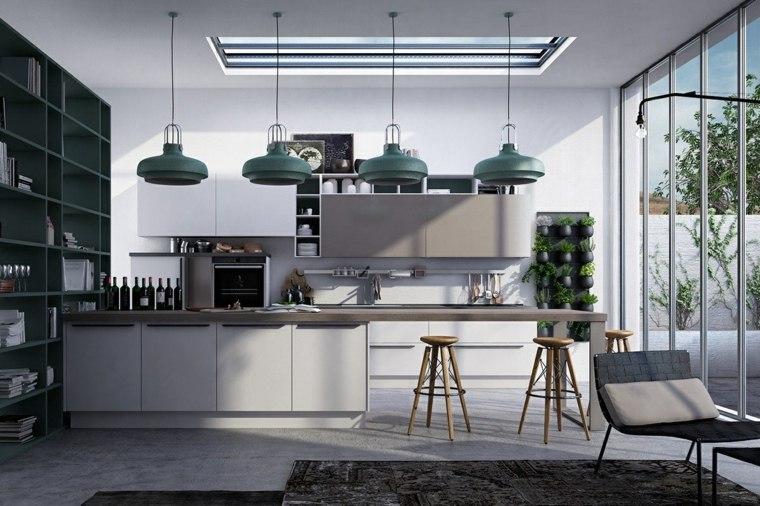color gris cocinas luces colgantes jardines