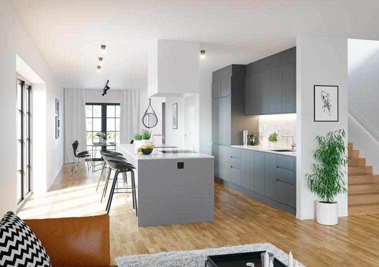 color gris cocinas maderas suelos escaleras