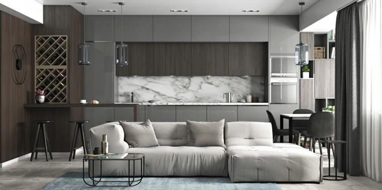 Color gris cocinas y dise os en 42 ideas espectaculares for Marmol color gris