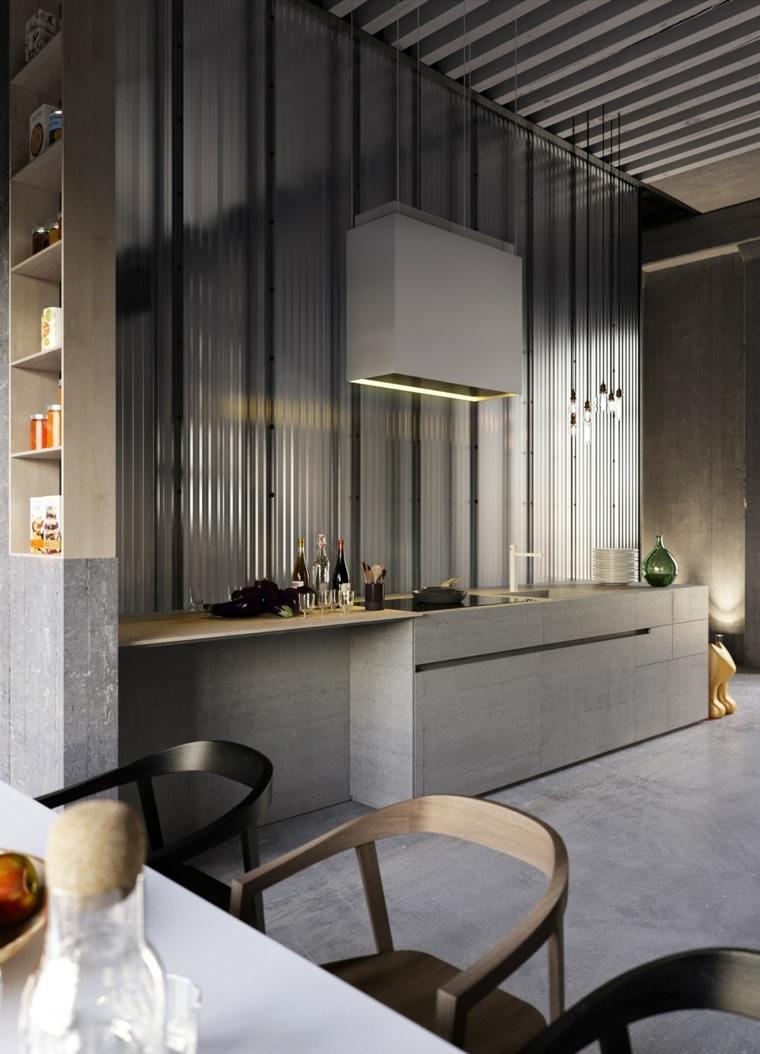 color gris cocinas paredes corrugadas muros