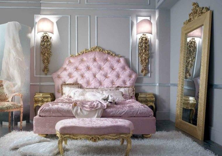 color rosa dorado combinacion diseno dormitorio estilo barroco ideas