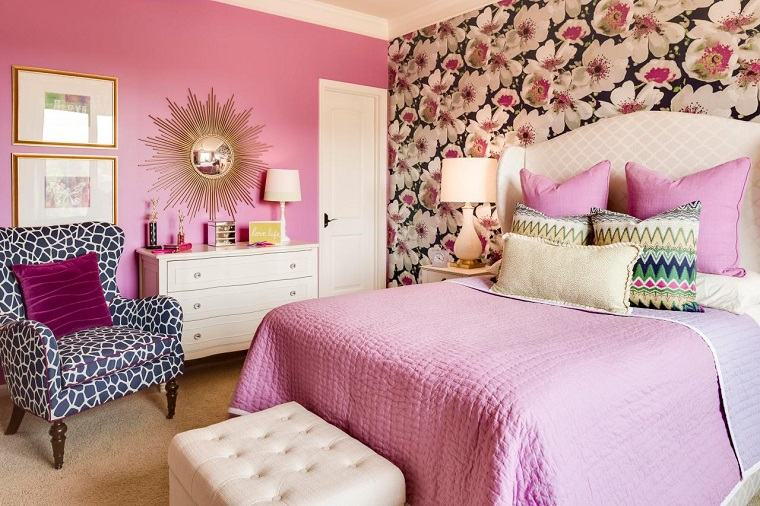 color rosa doradocombinacion diseno dormitorio papel pered bellos ideas