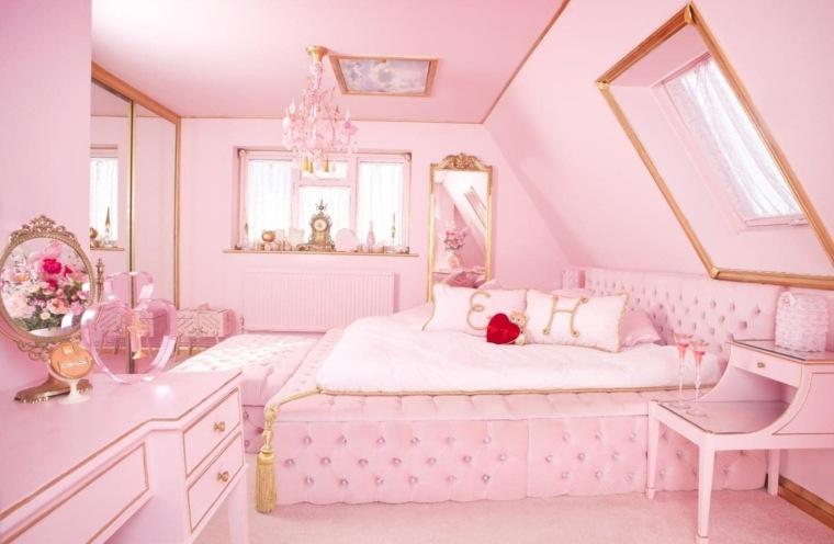 color rosa dorado combinacion diseno femrnino ideas