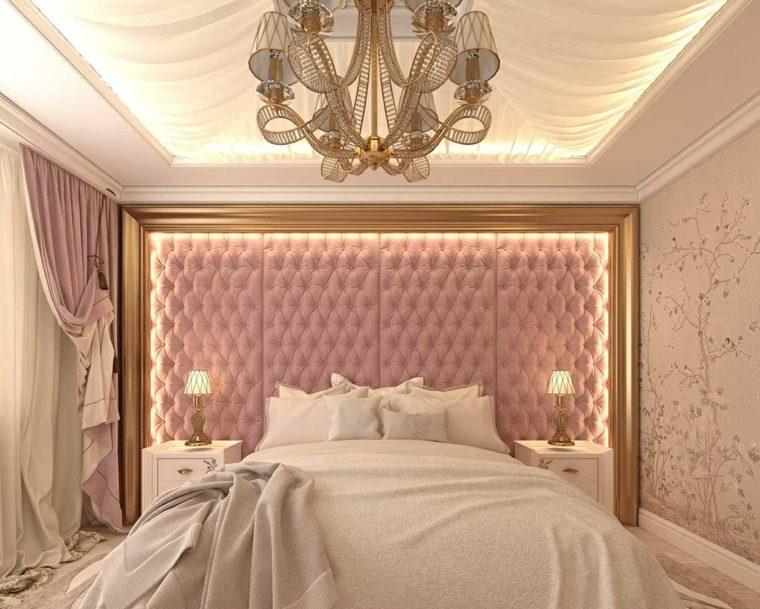 color rosa dorado combinacion iluminacion moderna ideas