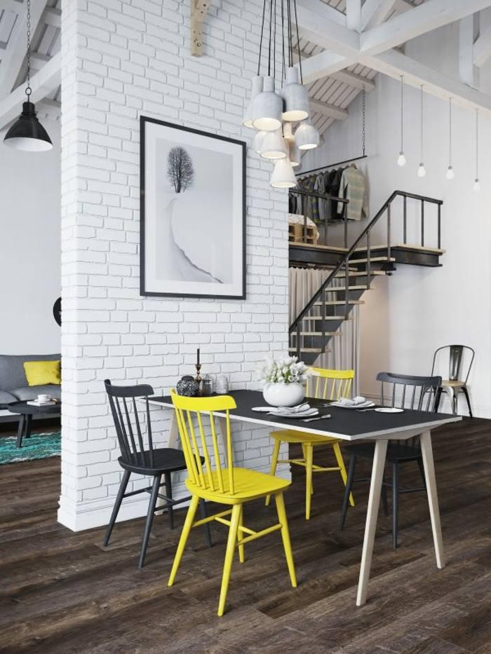 conjunto sillas gris amarillo