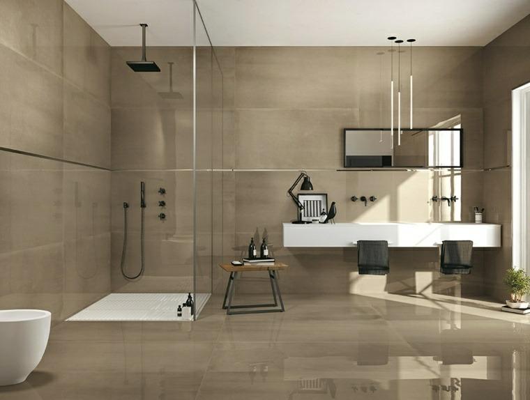 Cuarto de ba o minimalista y moderno for Diseno de bano amplio