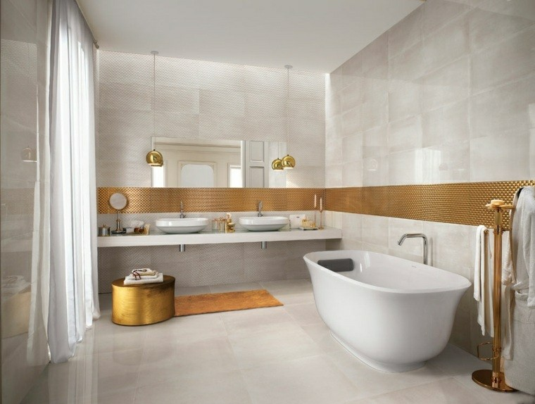 cuarto bano minimalista moderno detalles dorados ideas