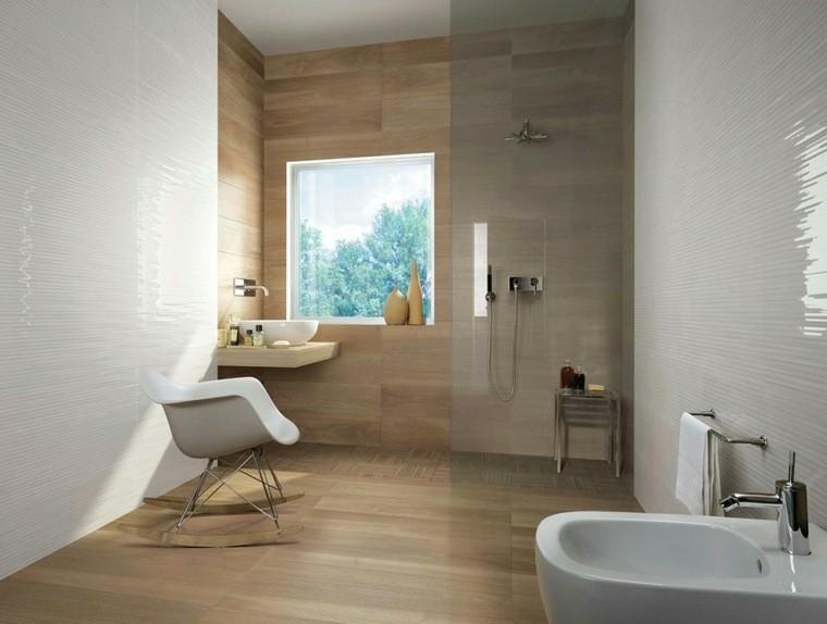 cuarto bano minimalista moderno losas imitan madera ideas