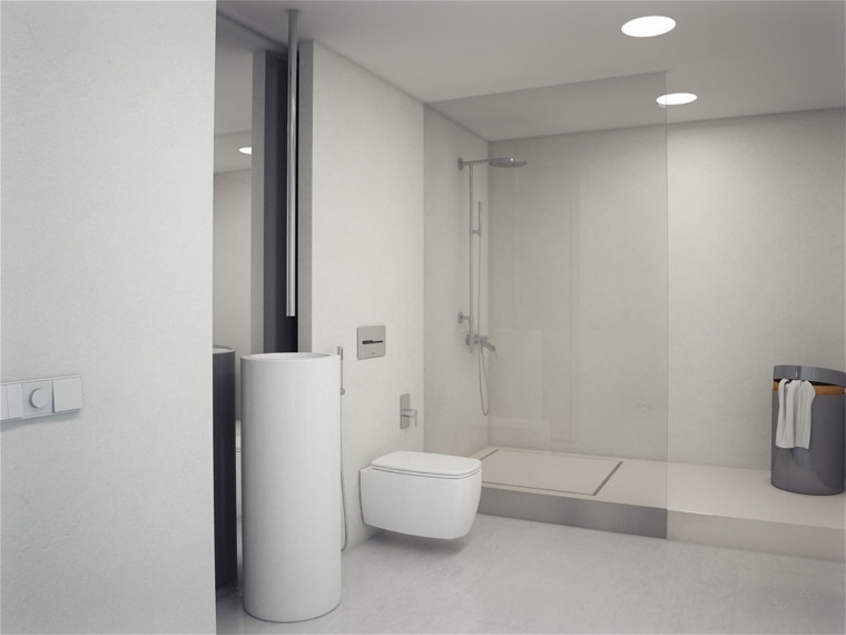 cuarto de bano minimalista moderno diseno blanco puro ideas