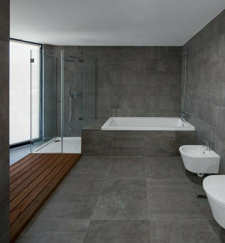 cuarto de bano minimalista moderno diseno gris ideas