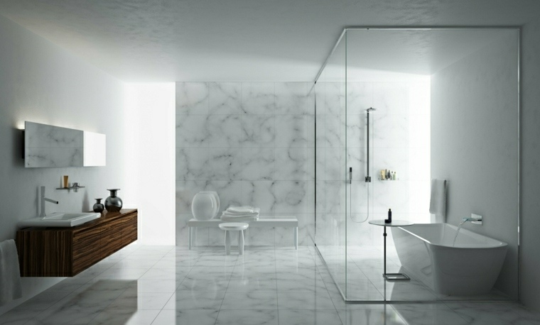 cuarto de bano minimalista moderno diseno imitacion marmol ideas