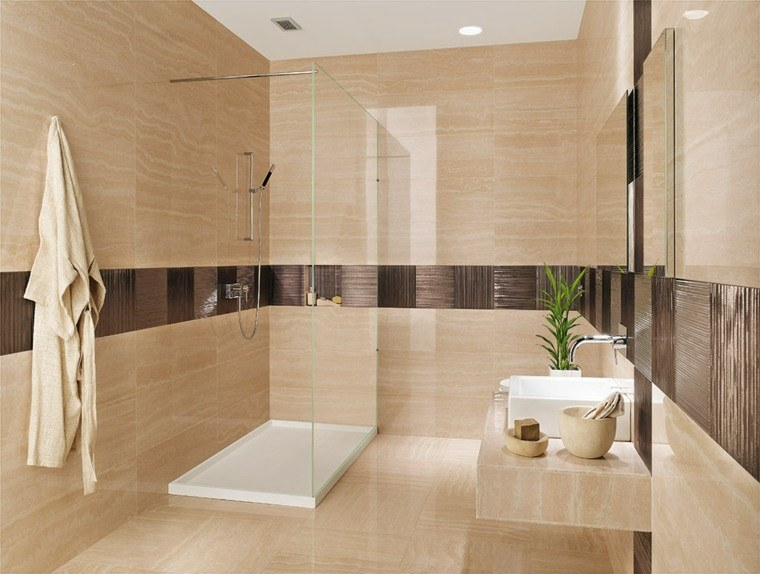 cuarto de bano minimalista moderno diseno losas beige ideas