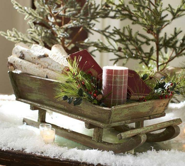 decoración con madera navidad interior