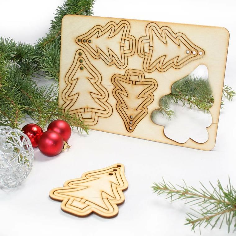 decoración con madera navideña