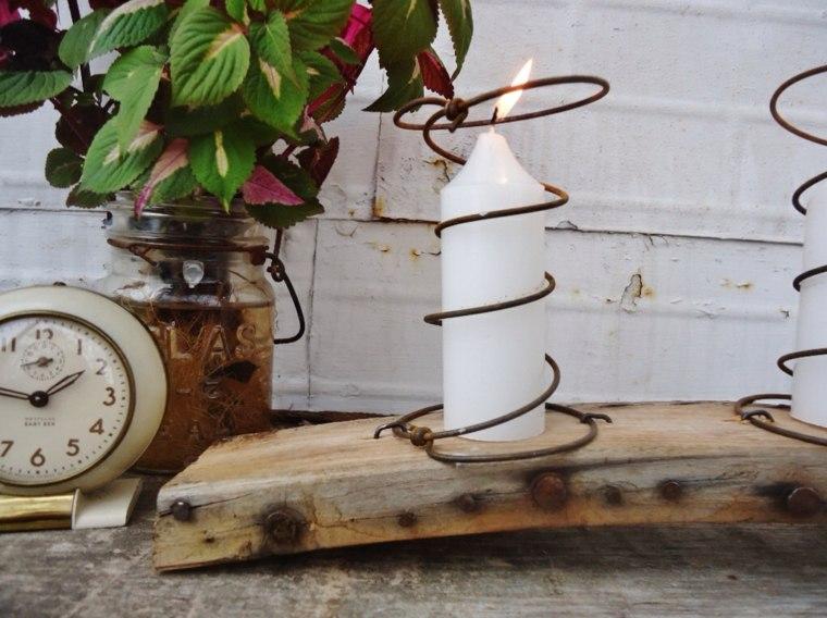 decoración con madera velas