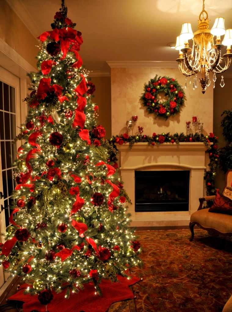 decoración de árboles de navidad elegantes salón