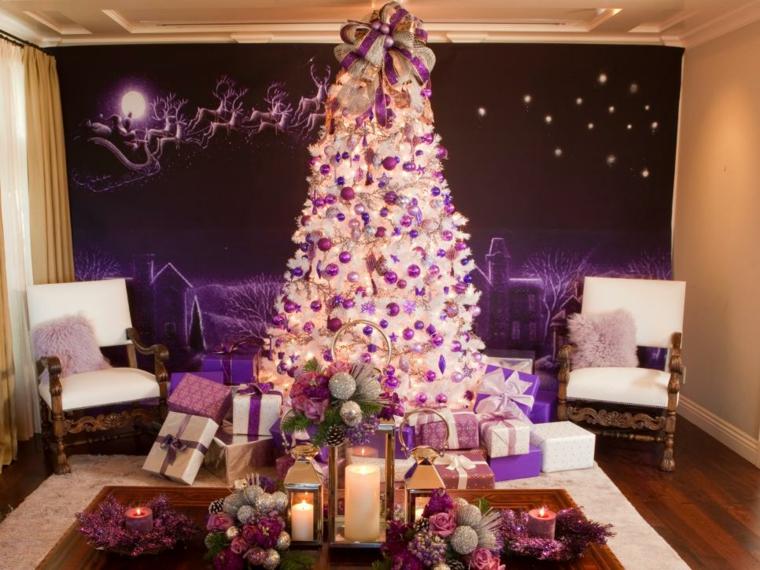 decoración de árboles de navidad rosas