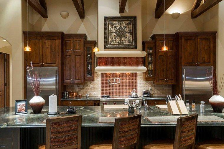 decoración de cocina cobre pared salpicadero
