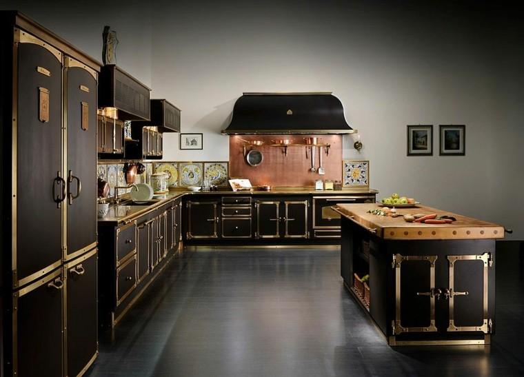 Decoración de cocina con cobre en el salpicadero -