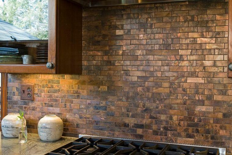decoración de cocina ladrillos cobre