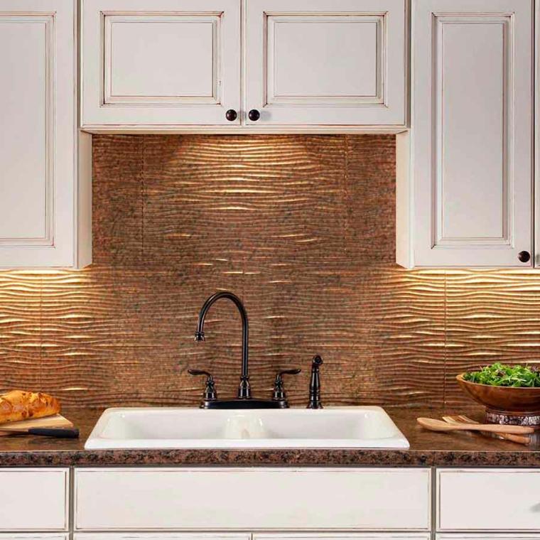 decoración de cocina pared salpicadero cobre